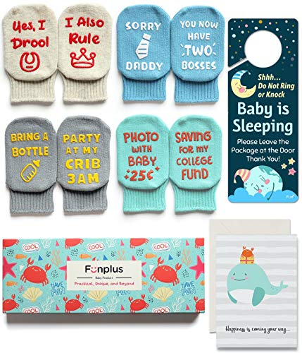 Baby Socks Baby Shower Gift Set 4 Pairs Funny Newborn Present Cute 3-12 Months Old Baby Girl or Boy Quote Socks