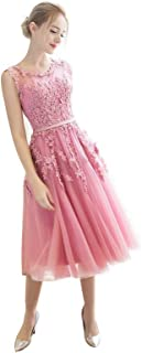 TS Women's A-Line Illusion Neck Lace Satin Beautiful Back Prom Dress with Appliques