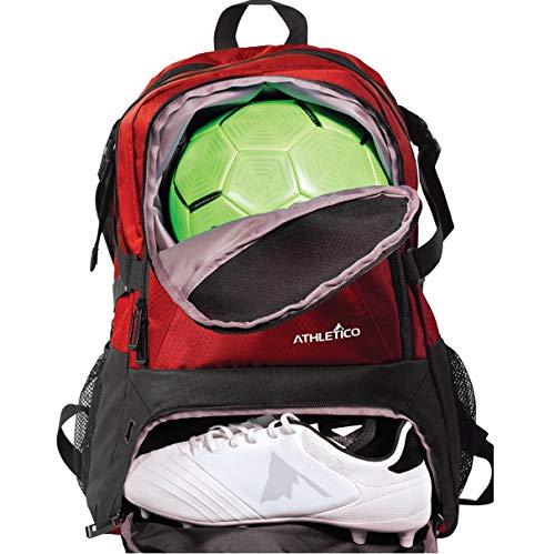 Athletico National Soccer Bag – Rucksack für Fußball, Basketball und Fußball inklusive separater Klampe und Ballhalter (rot)
