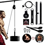 CFBF Pulley System Gym, Pulley Cable Machine Professional Muscle Strength Fitness Equipment Forearm Wrist Roller Training for LAT Pulldowns, Biceps Curl, Triceps Extensions Workout Straight Machine