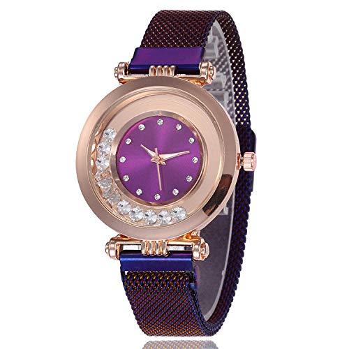 SANDA Reloj Mujer,Reloj de Mujer de Moda Reloj de Pulsera de Bola de Superficie Multicolor con Carcasa de aleación Ultrafina Reloj de Cuarzo Simple y versátil-púrpura