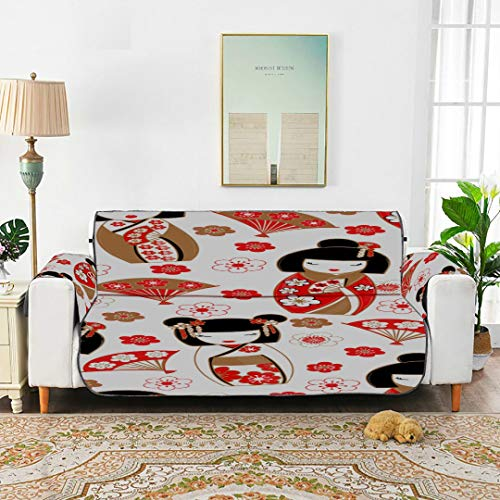 WDDHOME Geisha Autumn Time Asian Culture Oriental Vintage National Design Art Sofa Cushions Tewene Couch Cover Sofa Cover Elstic Sofa Cover 66'(168cm) For 3 Seat Machine Wash Arm Chair Cover