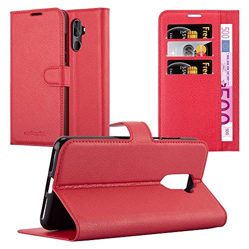 Cadorabo Hülle für Cubot X18 Plus in Karmin ROT - Handyhülle mit Magnetverschluss, Standfunktion & Kartenfach - Hülle Cover Schutzhülle Etui Tasche Book Klapp Style
