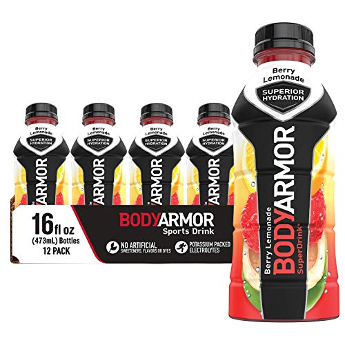 BODYARMOR Sports Drink Sports Beverage, Berry Lemonade, Natural Flavors With Vitamins, Potassium-Packed Electrolytes, No Preservatives, Perfect For Athletes, 16 Fl Oz (Pack of 12)