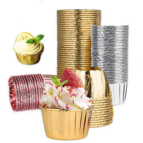 Xumier 150pcs Papel Cupcakes metálico Muffin Moldes para Bodas de Fiesta Color Dorado Cupcake Wrappers Round Cake Baking Cups Oro,Plata,Oro Rosa