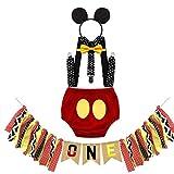 MYRISAM Déguisement de Mickey pour 1er Anniversaire Bébé Cake Smash Photo Prop Carnaval Halloween Costume Bloomers Noeud Papillon Bretelles Serre-tête avec Bannière Chaise Haute 12-18 mois