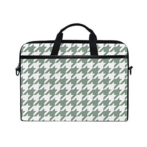 HJJL Pied De Poule Houndstooth Laptop Shoulder Messenger Bag Case Sleeve for 14 inch to 15.6 inch with Adjustable Notebook Shoulder Strap