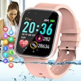 10. Amokeoo Smart Watch,Fitness Watch Activity Tracker with Heart Rate Blood Pressure Monitor Bluetooth Smartwatch IP67 Waterproof Sports Tracker Watch Touch Screen for Android iOS Phones Men Women Pink