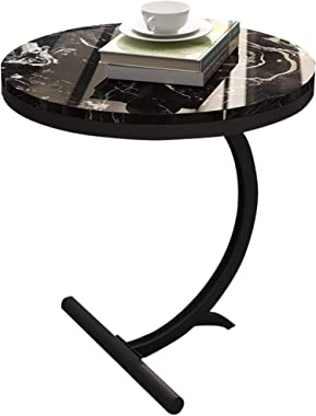 XWZJY Simple Black Marble Side/Coffee/Dining/Lamp/End Table,Laptop Desk Wrought Iron Frame,Creative Furniture for Balcony Living Room,55 x 60 cm (Ø x H)