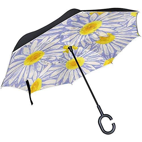 Little Yi Umgekehrter Regenschirm-Autos drehen Regenschirm gemalten Gänseblümchen-Blumen-Reise-Regenschirm im Freien um