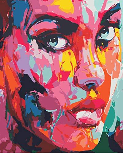 Yonisne DIY Pintura por Números Pintura al óleo Digital Mira Kit de Pintura 100% Dibujado a Mano para el Hogar Wall Art Pictures Canvas Best Gift 40 x 50cm
