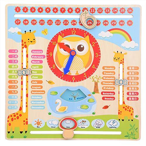Hztyyier Giocattolo dell'orologio in Legno per Bambini, 11,61 * 11,61 * 0,9 Pollici Grafico Calendario Data Bambini, Regalo di apprendimento