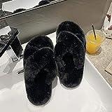 Zquest Zapatillas de Playa para Mujer, Zapatillas de Felpa de otoño e Invierno para Mujer, Zapatillas de algodón de Moda para Uso Exterior-Black_39