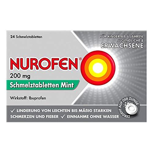 Nurofen 200mg Schmelztabletten Mint – Ibuprofen Schmelztablette mit Mint Geschmack bei Schmerzen und Fieber – Zergeht auf der Zunge – 1 Packung mit je 24 Stück