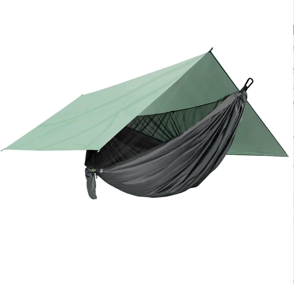 FEANG Hamaca de camping con lona de lluvia y red portátil ligera hamaca para mochileros, senderismo, viajes y actividades al aire libre (color: C)