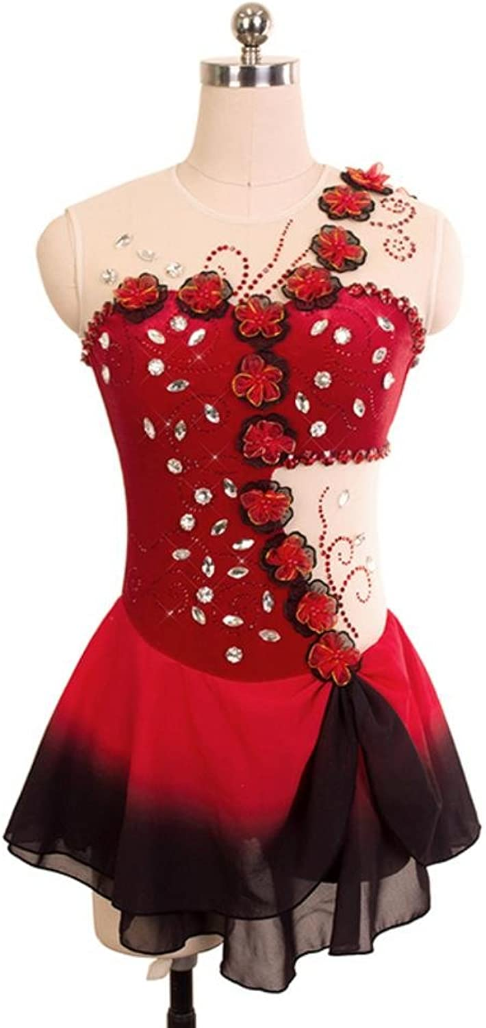 Heart&M Figure Skating Dress for Girls Women Ice Skating Dress Competition Performance Flower Applique Crystals Handmade Sleeveless Red