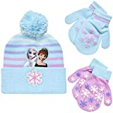Disney Girls Frozen Winter Hat and 2 Pair Gloves or Mittens (Age 2-7) (Purple Mittens, Age 2-4)