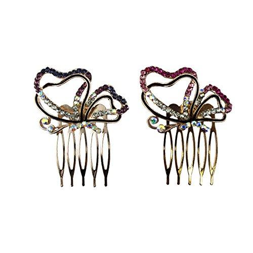 HAND Joli Papillon côté Vue Crystal et émail Cheveux décoration Peigne Clips - 60 mm - Pack de 2