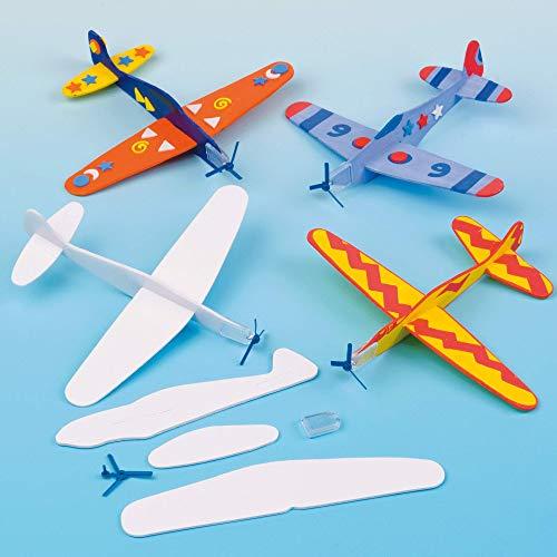 Baker Ross EV1813 Gleitflugzeuge zum Spielen für Kinder – mit Filzstiften oder Bastelfarben bemalen – als Preis und Mitgebsel für den Kindergeburtstag (8 Stück), Sortiert