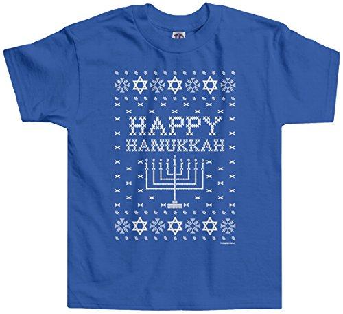 Threadrock Little Girls' Happy Hanukkah (Ugly Sweater) Toddler T-Shirt 3T Royal Blue