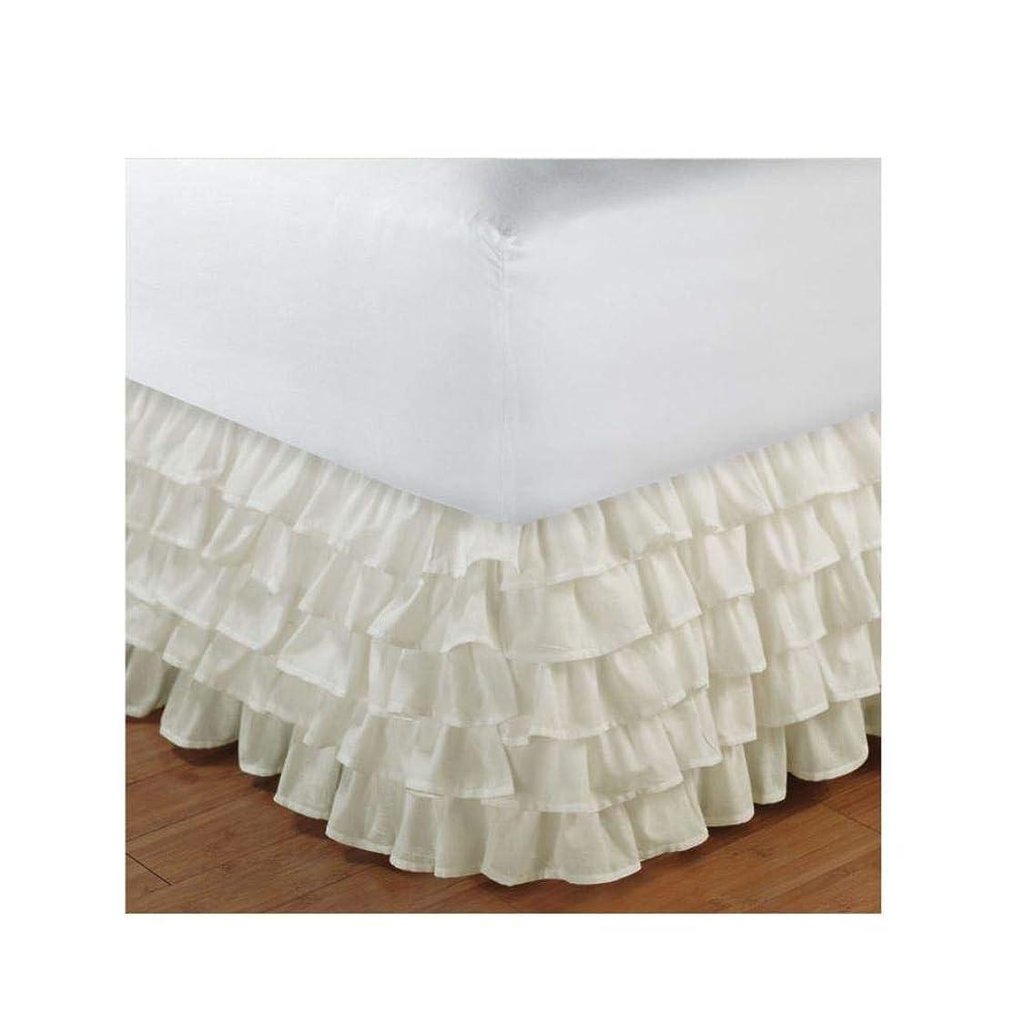 転用競争祈る五層のレースのベッドスカート、ベッドスカートプラットフォーム布,クリーム,99X190 + 38センチメートル