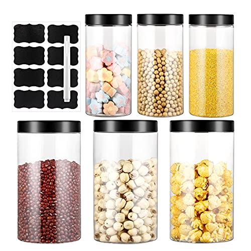 4.5L Vorratsdosen Set, 6 Stück Kunststoff Müsli Schüttdose & Frischhaltedosen aus BPA-frei, Aufbewahrungsbox Küche Luftdicht Behälter aus Plastik Mit Deckel, Satz mit 8 Etiketten (3*1000ML+3*500ML)