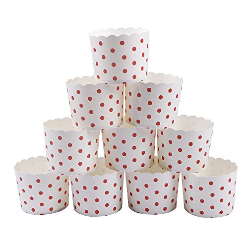 webake Muffin Förmchen Papier Muffinförmchen Papierförmchen in Rosa Punkt Tupfen für Muffin Cupcake 25 Stück Ø 7 cm