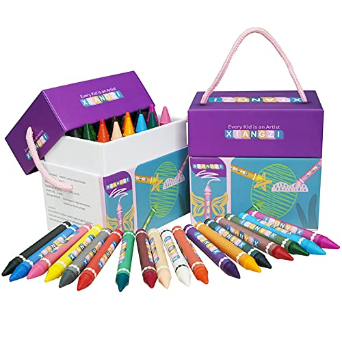 XIANGZI Crayons for Kids Ages 4-8,Jumbo Crayons for Toddlers-24 Colors,Easy to Hold Big Crayons for Kids,Non Toxic Safety Crayons for Toddlers.
