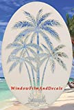 Oval Palm Tree Etched Window Decal Vinyl Glass Cling - 21' x 33' - White with Clear Design Elements