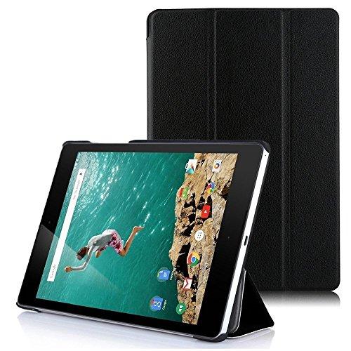 Google Nexus9 8.9 インチ Volantis Flounder Android 5.0 Lollipop tablet by HTC T1用ケース 三つ折 カバー 薄型 軽量型 スタンド機能 PUレザーケース☆ (Google Nexus9 8.9 インチ, ブラック)
