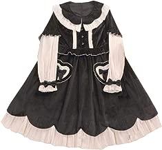 Nite closet Lolita Dress for Women Heart Velvet Black Sweet Gothic Vintage Cosplay