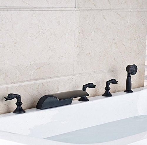 Gowe Mélangeur LED à changement de couleur Cascade Baignoire robinet Répandue trois Poignées de salle de bain baignoire mélangeurs avec douchette Couleur : Laiton Douchette