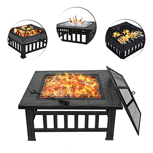 Great Features Of ZENY Outdoor 32'' Metal Fire Pit BBQ Square Table Backyard Patio Garden Stove ...