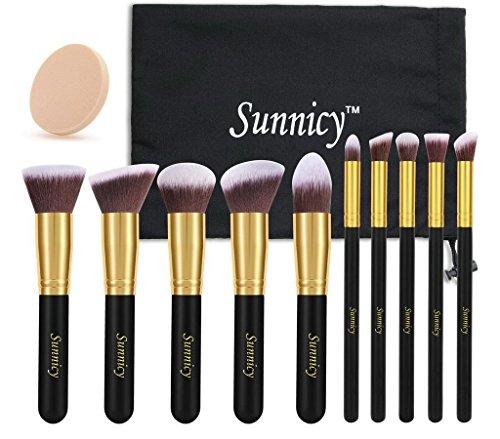 Sunnicy - Juego de brochas de maquillaje Kabuki (10 unidades) con pelo sintético, incluye estuche, color negro y amarillo