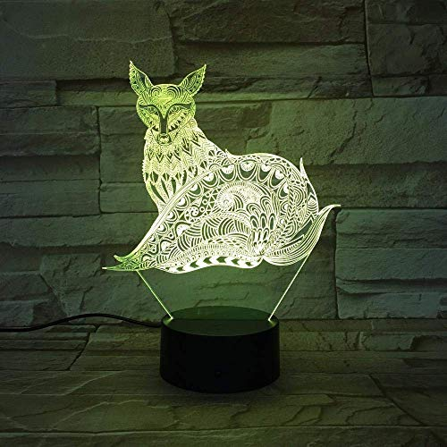 Luz de ilusión 3D Luz de noche LED Diseño de Fox con lámpara de mesa táctil como regalo para niños 7 colores que cambian la decoración de la fiesta familiar USB o caja de batería