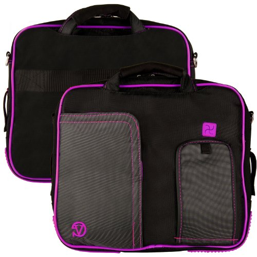 Purple Trim Black Pindar Durable Water Resistant Nylon Protective Carrying Case Messenger Shoulder Bag for Sony VAIO T Series 13.3 inch Touchscreen Ultrabook