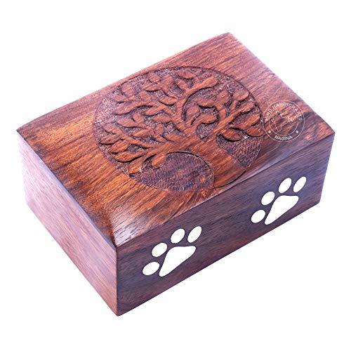 Hind Handicrafts Haustierurne aus Palisanderholz mit Messingpfoten, für Hunde und Katzen, Erinnerungsurne für Asche, Foto-Holzbox (klein: 15,2 x 10,2 x 7,6 cm – 20,4 kg oder 20 kg, Baum des Lebens)