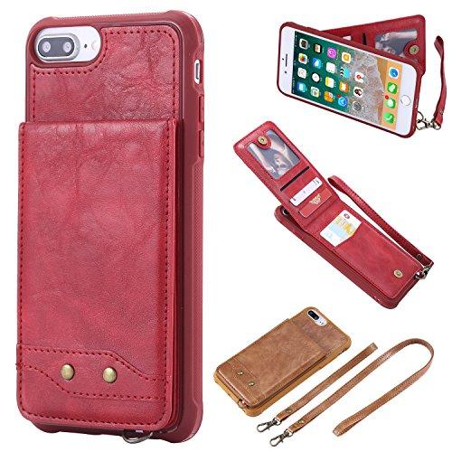Shinyzone Arrière en Cuir Etui pour iPhone 7 Plus/iPhone 8 Plus avec Portable Dragonne & Cou Lanière,Métal Boucle Coque Portefeuille Premium Flip PU avec Porte-Cartes,Rouge