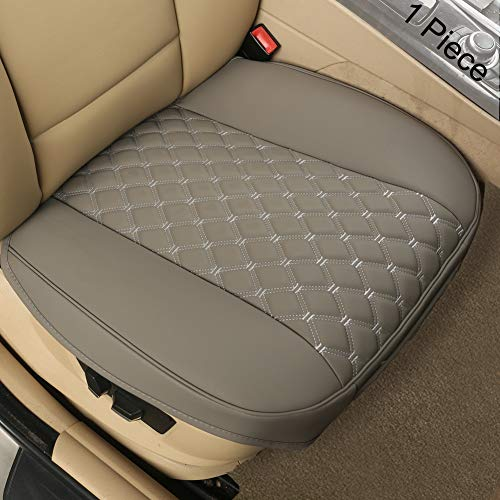 "Black Panther PU Car Seat Cover, Front Seat Protector Compatible with 90% Vehicles,Diamond Pattern Embroidery,Anti-Slip & Full Wrapping Edge (W 21.26''×D 20.86"")(1Piece,Gray)"