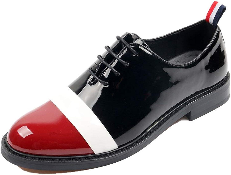 Men's shoes Men's shoes, British Men's Lace-up Casual shoes Nightclub Hair Stylist Patent Leather shoes Personalized Pointed Leather shoes Men's Fashion Boots (color   A, Size   42)