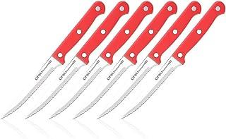 Ginsu®Set de 6 Cuchillos para Carne Gourmet KISO™, de Acero Inoxidable Japonés Apto para Lavavajillas con Mango de Color Rojo