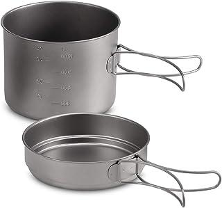 Lixada Camping Cookware Set - Titanium Stove Pot Pan Frypan Bowl Cup Ultra Light Portable Cooking Equipment Mess Kit Tools...