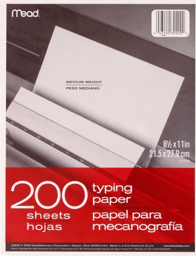 Mead Typing Paper, 8-1/2' x 11', Letter Size, White, 200 Sheets/Pack (39200)