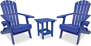 ECCB Outdoor Outer Banks 3-Piece Value Line Adirondack Set w/Value Line Square Table (Royal Blue)