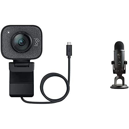 Logitech StreamCam, 1080P HD 60fps Streaming Webcam with USB-C and Built-in Microphone, Graphite & Blue Yeti USB Mic for Recording & Streaming on PC and Mac, 3 Condenser Capsules – Blackout