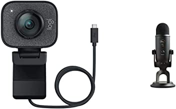 Logitech StreamCam, 1080P HD 60fps Streaming Webcam with USB-C and Built-in Microphone, Graphite & Blue Yeti USB Mic for R...