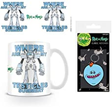 Set: Rick and Morty, Lawnmower Dog, Snuffles Photo Coffee Mug (4x3 inches) and 1 Rick and Morty, Keychain Keyring for Fans (2x2 inches)