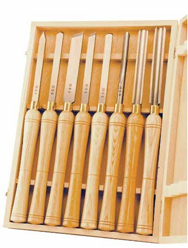 PSI Woodworking LCHSS8 Wood Lathe HSS Chisel Set, 8Piece