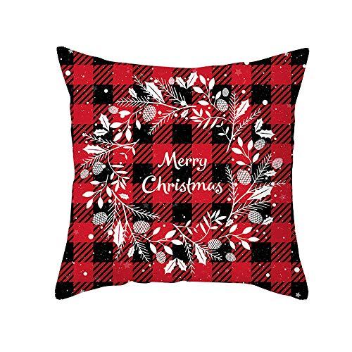 Red Plaid Christmas Pillowcase Peach Skin Sofa Cushion Cover Office Cushion Pillow Case境