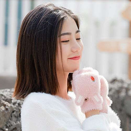 Gestrickte Handschuhe,Plüsch Halben Finger Flip Handschuh Studentin Cartoon Cute Rabbit Ears Herbst Und Winter Warm Frostschutzmittel Schreiben Rosa Handschuhe